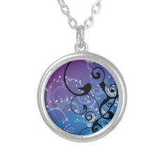 Purple & Blue Abstract Swirl - Necklace