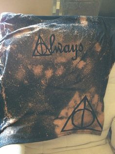 My Deathly Hallows bleached shirt! I used freezer paper to make this one instead of cardstock and spray adhesive. #DIY #HarryPotter