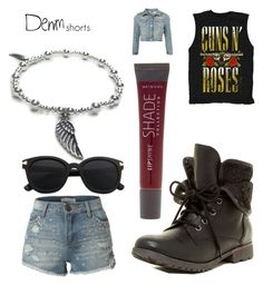 """""""RockNRollDenim"""" by jaimie-lynn-1 ❤ liked on Polyvore featuring Jacy & Jools, Rock & Candy, LE3NO, Lane Bryant, jeanshorts, denimshorts and cutoffs"""