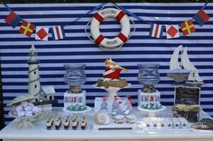 **I like the sailboat cupcakes**12 Nautical Birthday Party and Baby Shower Ideas - Spaceships and Laser Beams