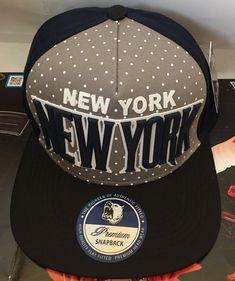 39a8f515869 PREMIUM New York Snapback Hat New York Logo Flat Bill Cap-Navy Blue Gray
