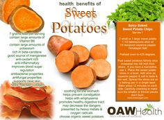 Not only do sweet potatoes taste like a scrumptious dessert, they provide the body with some awesome health benefits. Cutting-edge research on sweet potatoes indicates they have many unique . Sweet Potato Health Benefits, Benefits Of Potatoes, Sweet Potato Smoothie, Sweet Potato Chips, Potato Vitamins, Pears Benefits, Raw Food Recipes, Healthy Recipes, Healthy Foods