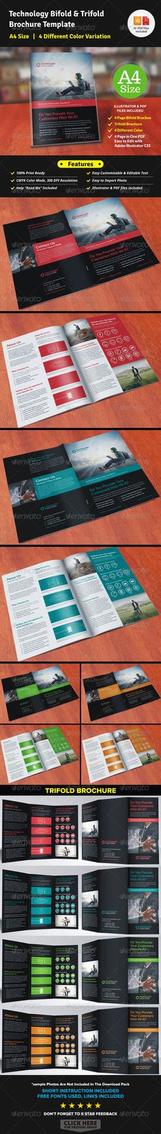 Portfolio Trifold Brochure Indesign Template Indesign templates - technology brochure template