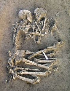 Embracing Skeletons. Archaeologists believe the couple was buried 5000-6000 years ago, their arms wrapped around each other. It doesn't get much more romantic than this!