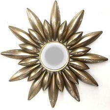 Gold Mirror Star Wall Art Hanging Sculpture Metal Decor Flower Sun 70cm