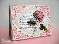 Let your Dreams Bloom - Rose & Prayers, floral collage, decoupage, stamping, handmade card, vintage, handwriting, rose, Spellbinders Tranquil Moments