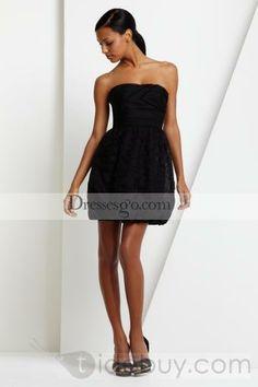 Black Short/Mini-Length Strapless A-Line Cocktail Dress