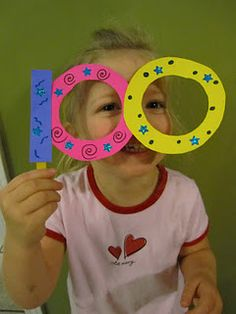 100th Day of School...Could put a popsicle stick on both sides and put toilet paper rolls in the zeros to make Binoculars :)