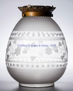 FREE-BLOWN FROSTED AND ENGRAVED HALL LAMP SHADE,