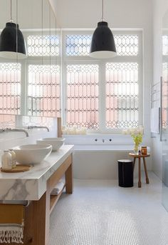 Black and white bathroom with the most incredible windows. A light and airy bathroom in a Victorian home interior by Beatrix Rowe Interior Design. Photo by Shannon McGrath. Terraced House, Victorian Terrace House, Victorian Homes, Victorian Windows, Antique Windows, Vintage Windows, Bad Inspiration, Bathroom Inspiration, Bathroom Ideas