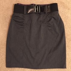 """Vanity Stretchy High Waisted Pencil Skirt w Belt Excellent pre-loved condition. Worn to a couple job interviews. Size 11 from """"Style that Works by Vanity""""    Polyester/spandex/rayon blend material. Very stretchy. Comes with wide stretchy belt. Smoke free home. Check out other items in my closet! Offers accepted! Vanity Skirts Pencil"""
