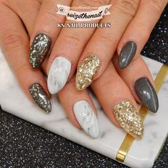 """""""Marble nails with a sneek peek of the new #GlitterGel """"Bling Bling!"""" from the upcoming winter collection! Nails by @seizethenail Visit our website…"""""""