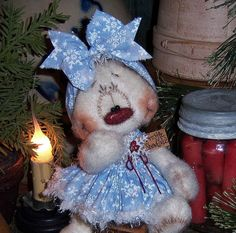"Primitive Raggedy Ann Winter Snowman Frosty 5"" Snow Girl Doll ★ Patti's Ratties"