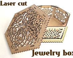 Wooden box for jewelry. Laser cut vector model. Instant download