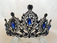 Antique Royal Blue Tiara Bridal Crown Crystal Wedding Tiara | Etsy Bridal Crown, Bridal Tiara, Bridal Headpieces, Swarovski Stones, Crystal Crown, Royal Jewelry, Fantasy Jewelry, Crystal Wedding, Tiaras And Crowns