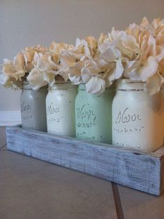 Rustic Mason Jar and Wood Box Table Centerpiece ♥ Source: lilykayy on Etsy