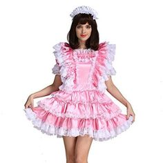 Gocebaby-Sissy-Girl-Maid-Satin-Pink-Lockable-Dress-Costume-Uniform-Crossdressing-0