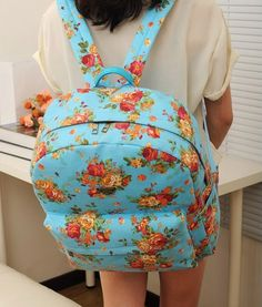 Canvas Flower Rucksack School Backpack Bag