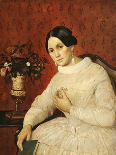 Хруцкий И.Ф. Портрет неизвестной в белом платье с книгой. Середина XIX века. Х., м. 85х71