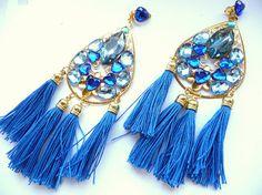 Multicolor Earrings Statement earrings Tassel earrings by MMGEM
