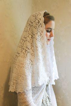 Evintage White Hydrangea Chapel Veil Mantilla by evintageveils