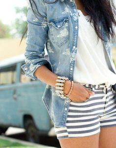Fashion shorts accessories blouse