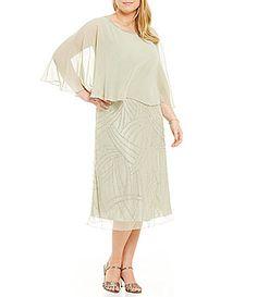 Jkara Plus Beaded Capelet Dress #Dillards