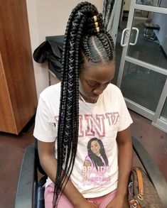 Feed In Braids Into A Pony Tail Hair In 2019 Braids Hair Styles