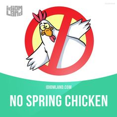 """""""No spring chicken"""" is a person who is no longer young. Example: That actress is no spring chicken, but she does a pretty good job of playing a twenty-year-old girl. #idiom #idioms #slang #saying #sayings #phrase #phrases #expression #expressions #english #englishlanguage #learnenglish #studyenglish #language #vocabulary #efl #esl #tesl #tefl #toefl #ielts #toeic #chicken"""