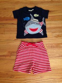 Boys Appliqued Shark Shirt and Bermuda Shorts