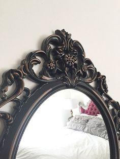 Wall Mirror Black Oval Ornate Baroque Shabby by FarmHouseFare #ornatemirror #shabbychic