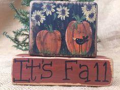 Primitive Country Sunflowers Pumpkins Crow It's Fall Shelf Sitter Wood Block Set #primitivedecor #falldecor #primtivepumpkins