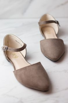Taupe Faux Suede Ankle Strap Pointed Flat