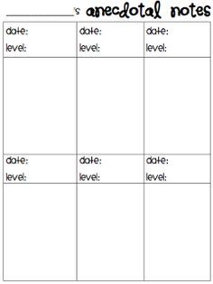 Anecdotal notes template could use for teaching strategies gold guided reading notes use sticky notes then stick it on the childs sheet when maxwellsz