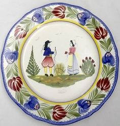 "HB Henriot Quimper France Tradition Man Woman Couple 10"" Plate 