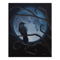 Shop raven moon poster created by Pollardstudio. Personalize it with photos & text or purchase as is! Moon Painting, Diy Painting, Quoth The Raven, Beautiful Dark Art, Raven Art, Raven Tattoo, Crows Ravens, Moon Art, Custom Posters