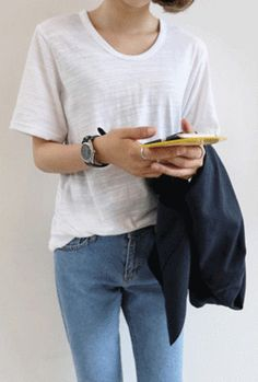 ラウンドネック半袖スラブTシャツ - DAILYABOUT - Round Neck Short Sleeved Slub T-Shirt