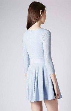 Stunning Baby Blue Lurex Sparkle Skater Party Dress Long Sleeve Celeb  Lk  S:14