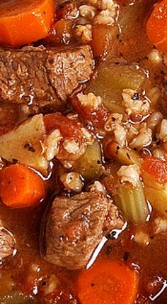 Enjoy a delicious bowl of beef and barley soup with this easy slow cooker recipe! Make a nice, hearty soup for the cooler fall and winter months Slow Cooker Beef, Slow Cooker Recipes, Beef Recipes, Cooking Recipes, Healthy Recipes, Kale Recipes, Slow Cooking, Cooking Tips, Gourmet
