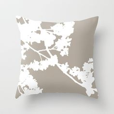 Cherry Blossoms Neutral Taupe Brown Throw Pillow by Aldari Art Studio - $20.00