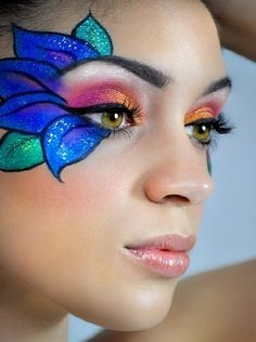 Machen Sie ein Halloween-Blumen-Make-up - Famous Last Words Flower Makeup, Fairy Makeup, Kids Makeup, Eye Makeup Art, Makeup Carnaval, Adult Face Painting, Face Painting Flowers, Make Up Gesicht, Lipstick For Fair Skin