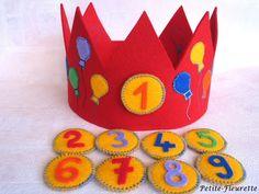 Rote Geburtstagskrone zum Schmücken des Geburtstagskindes. Die Krone ist aus hochwertigem 100% Wollfilz gearbeitet. Die Luftballons sind aufgenä