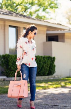 cute & little blog | petite fashion | joie floral bouquet silk blouse | ag petite distressed jeans, m.gemi cammeo coral suede pumps, minkoff pink mab tote, ray ban blue mirror aviators | spring outfit