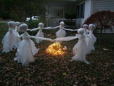 Dancing ghosts in the yard