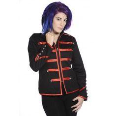 Veste Gothique Militaire Officier Noir Rouge