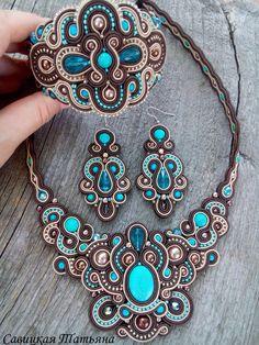 . Leather Jewelry, Boho Jewelry, Jewelry Art, Beaded Jewelry, Jewelery, Jewelry Design, Unique Jewelry, Soutache Necklace, Beaded Earrings