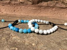 2 PC SET! Blue and White Adjustable Friendship Bracelets - Galaxy Accessories