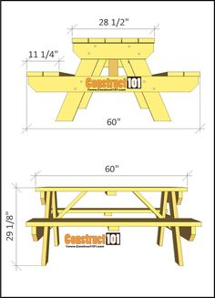 DIY picnic table for a traditional picnic table. Plans include a material list, shopping list, cutting list, illustrated step-by-step building instructions, plus a free PDF download. Diy Picnic Table, Picnic Table Plans, Build Your Own, Outdoor Furniture, Outdoor Decor, Traditional, How To Plan, Building, Pdf