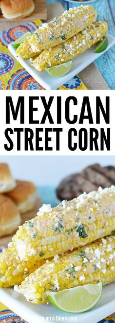 Mexican Corn on the Cob Easy grilling recipe! Try this simple Mexican Corn on the cob recipe. It tastes just like authentic Mexican Street corn. You will love this mexican corn recipe at your next BBQ. Mexican Corn, Mexican Street Corn, Mexican Dishes, Mexican Food Recipes, Corn Recipes, Side Dish Recipes, Vegetable Recipes, Recipes Dinner, Recipies