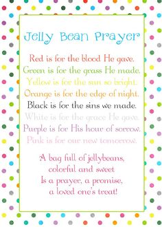 Jelly Bean Prayer for the Sunbeams @ Easter